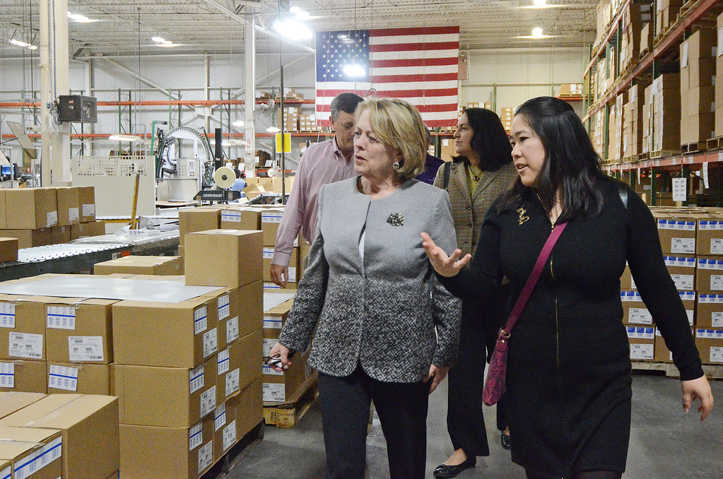 . Congresswoman Niki Tsongas and Fitchburg Mayor Lisa Wong tour the Boutwell Owens factory building on Friday afternoon, April 25, 2015. SENTINEL & ENTERPRISE / Ashley Green