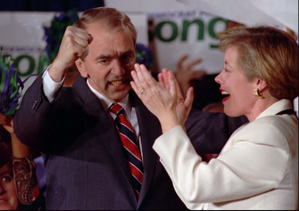 . -Former Democratic presidential candidate and U.S. Senator Paul Tsongas, D-Mass., is seen jubilating with his wife Niki in this March 1992 file photo , during the super Tuesday primary day in Boston. (AP Photo/FILE)