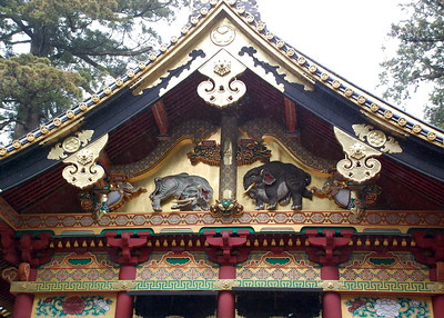 "The ""Imaginary Elephants"" on the gable of the Kamijinko at Toshogu shrine"