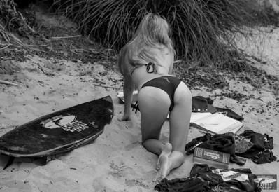 Nikon D800E Photos Pretty Blond Swimsuit Bikini Model Goddess & Black Surfboard: 70-200mm VR2 Nikkor F/2.8 Zoom
