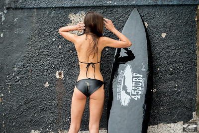 Nikon D800 Photos Beautiful Brunette Swimsuit Bikini Model Goddess with Black Surfboard!