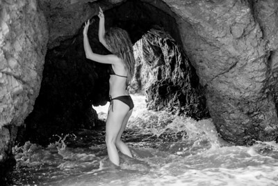 Nikon D800 E Photos of Swimsuit Bikini Model with Blonde Dreadlocks in Sea Cave !