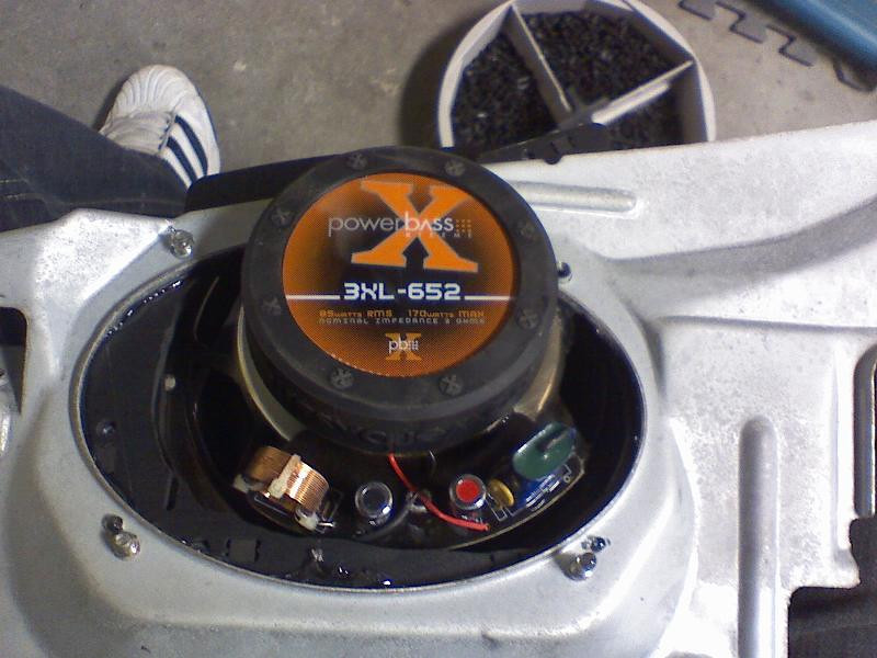Rear view of Powerbass 3XL-652 coax speaker installed in rear factory bracket.