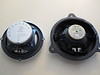 Left: Aftermarket speaker (rear view)<br /> Right: Factory speaker (rear view)