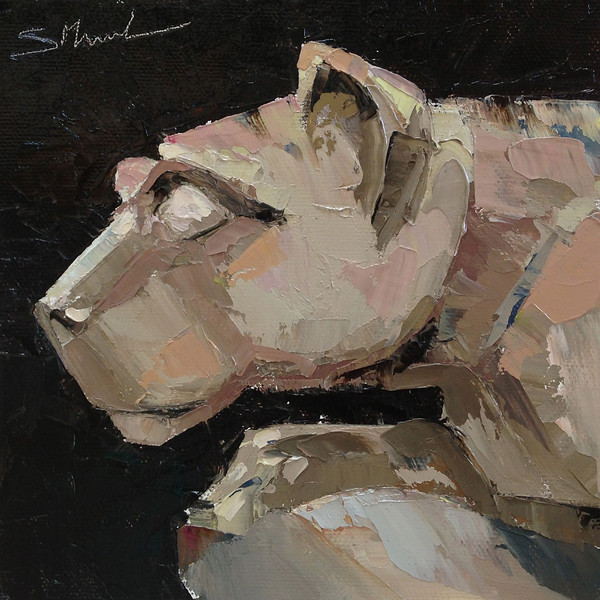 """©2013 SusieMorrell, """"Lion Pride"""" 6x6 oil on panel Private Collection"""