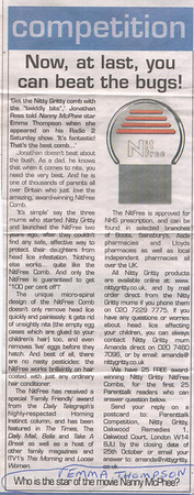 FAMILIES MAGAZINE JAN 2007<br /> Nitty gritty NitFree Comb Competition