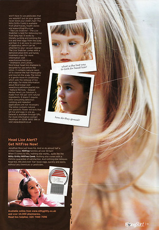 FLYING START MAGAZINE * DECEMBER 2007<br /> NITTY GRITTY NITFREE COMB<br /> HEAD LICE BEWARE ARTICLE<br /> PAGE 2