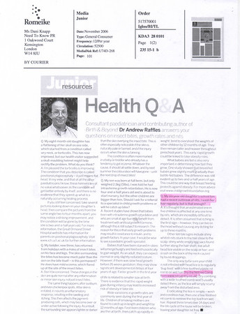 JUNIOR MAGAZINE OCT 2006<br /> Nitty Gritty NitFree comb featured in       <br /> Health Q&A<br /> (full page)