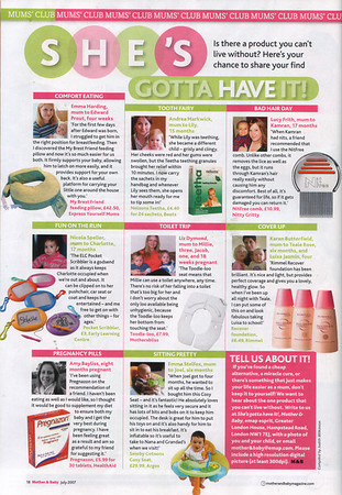 Mother and Baby Magazine<br /> Full Page<br /> June 2007