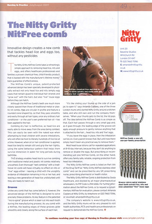 NURSING IN PRACTICE JULY/AUG 2007<br /> Feature - Nitty Gritty NitFree Comb