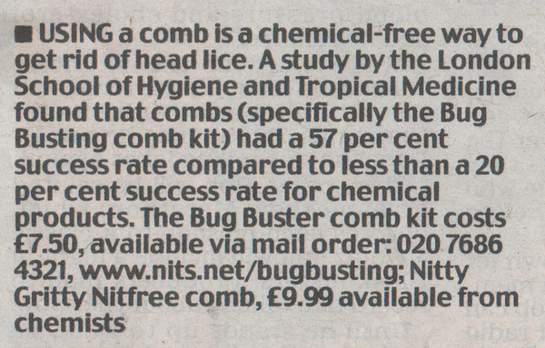 DAILY MAIL FEB 2007 <br /> NItty Gritty NitFree Comb featured in<br /> SUPER LICE