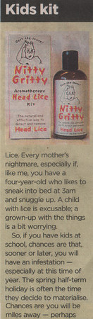 THE TIMES NEWSPAPER  MAY 2007<br /> (close up piece)<br /> Nitty GrittyNitFree comb featured in    <br /> The TImes Review (part 1)