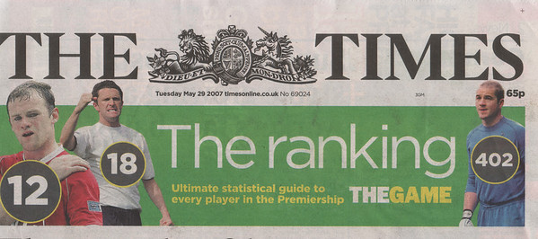 The Times Front Page<br /> May 29th 2007