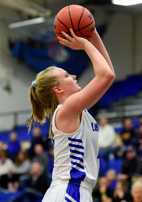 . LONGMONT, CO - FEBRUARY 1:Longmont High School\'s Annika Wetterstrom (No. 10) puts up a shot in the game against Niwot High School in Longmont on Feb. 1, 2019. (Photo by Matthew Jonas/Staff Photographer)