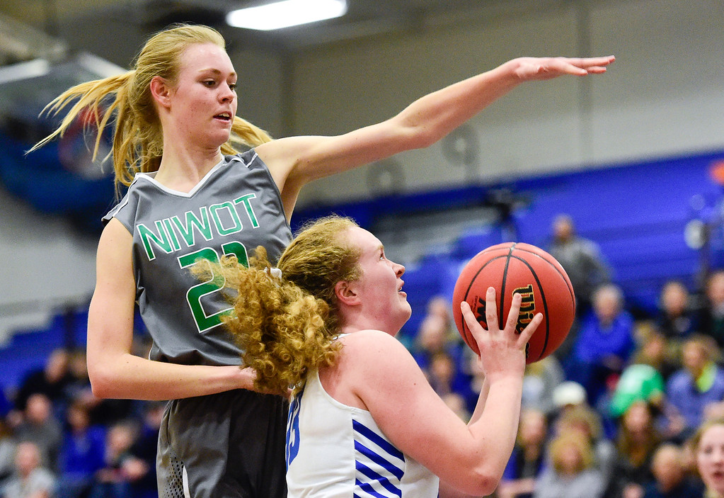 . LONGMONT, CO - FEBRUARY 1:Niwot High School\'s Marlow Baines (No. 21) tries to block a shot by Longmont High School\'s Emmelia Ashton (No. 33) in Longmont on Feb. 1, 2019. (Photo by Matthew Jonas/Staff Photographer)