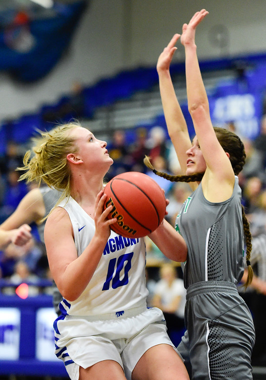 . LONGMONT, CO - FEBRUARY 1:Longmont High School\'s Annika Wetterstrom (No. 10) looks to shoot past Niwot High School\'s Elise Crall (No. 3) in Longmont on Feb. 1, 2019. (Photo by Matthew Jonas/Staff Photographer)