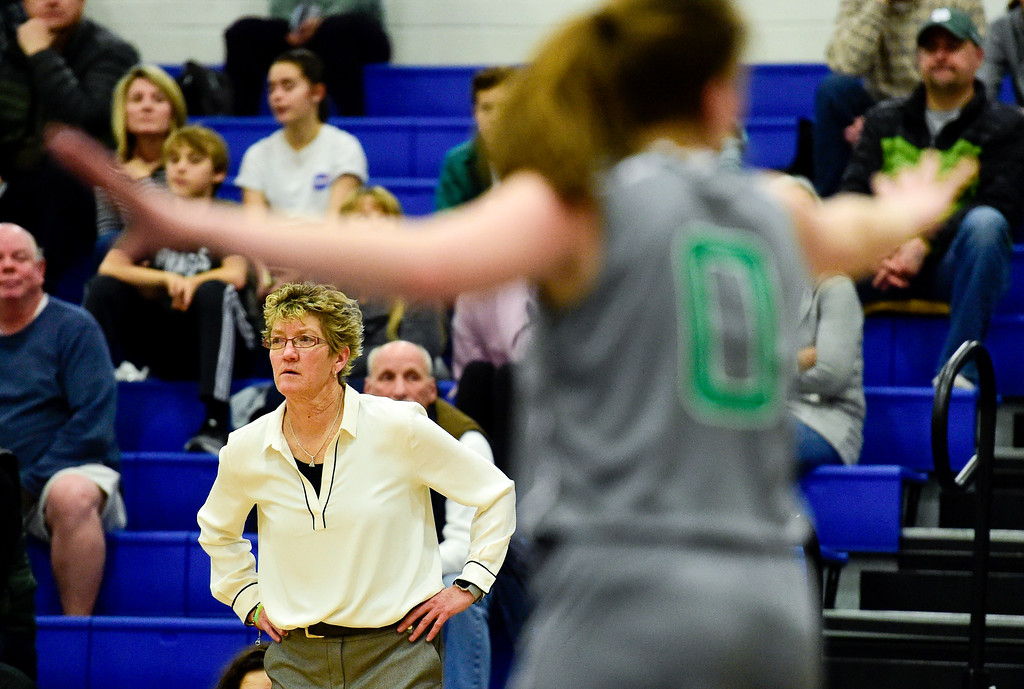 . LONGMONT, CO - FEBRUARY 1:Niwot High School\'s head coach Terri Ward looks on during the game against Longmont High School in Longmont on Feb. 1, 2019. (Photo by Matthew Jonas/Staff Photographer)