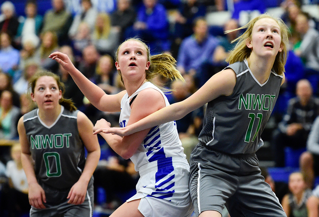 . LONGMONT, CO - FEBRUARY 1:Longmont High School\'s Annika Wetterstrom (No. 10) tries to box out Niwot High School\'s Mackenzie Demmel (No. 11)  in Longmont on Feb. 1, 2019. (Photo by Matthew Jonas/Staff Photographer)