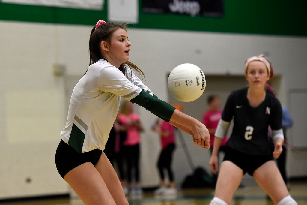 . NIWOT, CO - OCTOBER 18, 2018: Niwot High School\'s Audrey Richard stops a serve during a volleyball game against Longmont on Thursday in Niwot. More photos: BoCoPreps.com (Photo by Jeremy Papasso/Staff Photographer)