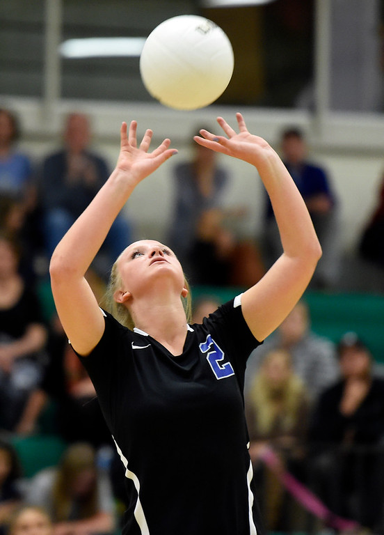 . NIWOT, CO - OCTOBER 18, 2018: Longmont High School\'s Annika Wetterstrom sets up a teammate for a kill during a volleyball game against Niwot on Thursday in Niwot. More photos: BoCoPreps.com (Photo by Jeremy Papasso/Staff Photographer)
