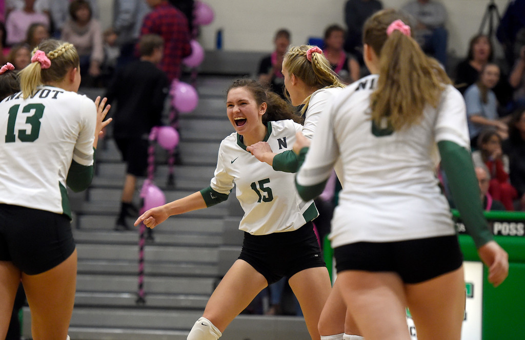 . NIWOT, CO - OCTOBER 18, 2018: Niwot High School\'s Natasha Terekhova celebrates a point with her team during a volleyball game against Longmont on Thursday in Niwot. More photos: BoCoPreps.com (Photo by Jeremy Papasso/Staff Photographer)