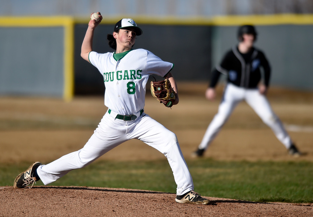 . NIWOT, CO - MARCH 19, 2019: Niwot High School\'s Clay Klespees throws a pitch during a non-league game against Peak to Peak on Tuesday in Niwot. For more photos of the game go to: BoCoPreps.com (Photo by Jeremy Papasso/Staff Photographer)