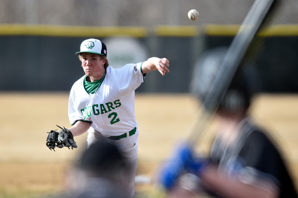 . NIWOT, CO - MARCH 19, 2019: Niwot High School\'s Micah Sheats throws a pitch during a non-league game against Peak to Peak on Tuesday in Niwot. For more photos of the game go to: BoCoPreps.com (Photo by Jeremy Papasso/Staff Photographer)