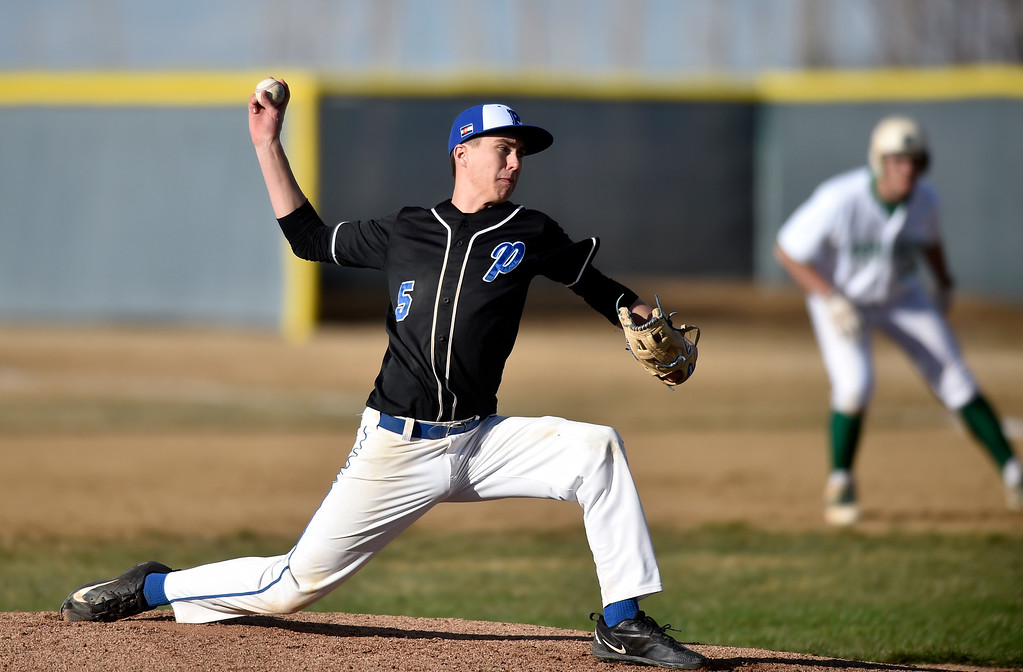 . NIWOT, CO - MARCH 19, 2019: Peak to Peak High School\'s Isaac Van Tol throws a pitch during a non-league game against Niwot on Tuesday in Niwot. For more photos of the game go to: BoCoPreps.com (Photo by Jeremy Papasso/Staff Photographer)