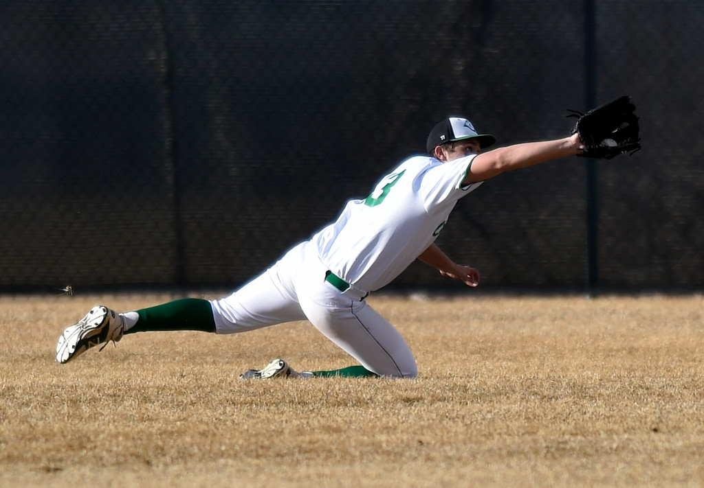 . NIWOT, CO - MARCH 19, 2019: Niwot High School\'s Aidan Galloway makes a diving catch in center field during a non-league game against Peak to Peak on Tuesday in Niwot. For more photos of the game go to: BoCoPreps.com (Photo by Jeremy Papasso/Staff Photographer)