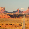 Highway 163 leads towards Monument Valley Navajo Tribal Park, Utah.