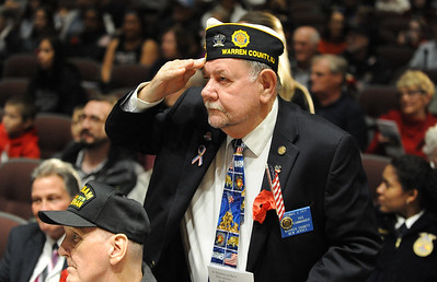 Warren County Vice-Commander, Thomas Fey, of Alpha, salutes. Phillipsburg area veterans Sunday, Nov. 11, 2018  were honored during the 21st annual William L. Nixon tribute. Hundreds attended the event at Phillipsburg High School in Lopatcong Township, in which the U.S. Department of Veterans Affairs has honored as a regional site for the observance of the commemoration.