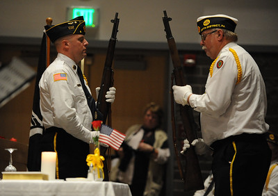 Member of the Brown and Lynch American Legion Post 9 Honor Guard, perform the changing of the guard. Phillipsburg area veterans Sunday, Nov. 11, 2018  were honored during the 21st annual William L. Nixon tribute. Hundreds attended the event at Phillipsburg High School in Lopatcong Township, in which the U.S. Department of Veterans Affairs has honored as a regional site for the observance of the commemoration.