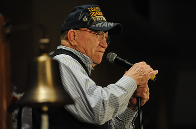 Coast Guard Veteran, John Bronoco sings during the ceremony. Phillipsburg area veterans Sunday, Nov. 11, 2018  were honored during the 21st annual William L. Nixon tribute. Hundreds attended the event at Phillipsburg High School in Lopatcong Township, in which the U.S. Department of Veterans Affairs has honored as a regional site for the observance of the commemoration.