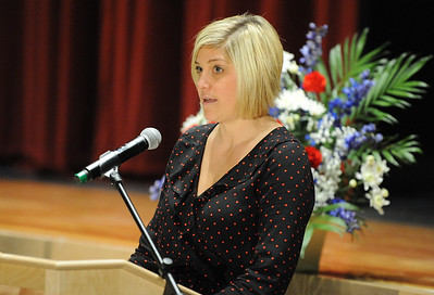 Phillipsburg High School teacher, Marcie Tate, reads the significance of the Empty Table Ceremony. Phillipsburg area veterans Sunday, Nov. 11, 2018  were honored during the 21st annual William L. Nixon tribute. Hundreds attended the event at Phillipsburg High School in Lopatcong Township, in which the U.S. Department of Veterans Affairs has honored as a regional site for the observance of the commemoration.