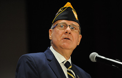 Bill Nixon, of Lopatcong Township and Navy Veteran and organizer of the William L. Nixon Veterans Day Tribute, gives him welcoming address. Phillipsburg area veterans Sunday, Nov. 11, 2018  were honored during the 21st annual William L. Nixon tribute. Hundreds attended the event at Phillipsburg High School in Lopatcong Township, in which the U.S. Department of Veterans Affairs has honored as a regional site for the observance of the commemoration.