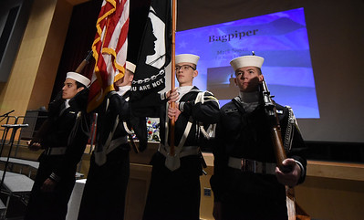 US Naval Sea Cadets, with the Lehigh Valley Division & Veterans Organizations, stand attention as they prepare to post the colors. Phillipsburg area veterans Sunday, Nov. 11, 2018  were honored during the 21st annual William L. Nixon tribute. Hundreds attended the event at Phillipsburg High School in Lopatcong Township, in which the U.S. Department of Veterans Affairs has honored as a regional site for the observance of the commemoration.