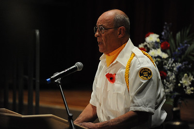 Army Veteran, Stephen Noll, of Alpha, offers the Invocation. Phillipsburg area veterans Sunday, Nov. 11, 2018  were honored during the 21st annual William L. Nixon tribute. Hundreds attended the event at Phillipsburg High School in Lopatcong Township, in which the U.S. Department of Veterans Affairs has honored as a regional site for the observance of the commemoration.