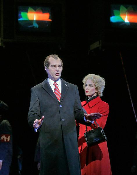 Baritone Franco Pomponi is Richard Nixon and soprano Maria Kanyova is Pat Nixon in San Diego Opera's NIXON IN CHINA. March, 2015. Photo by Ken Howard.