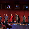 (L-R) Mezzo-soprano Sarah Castle is the 1st Secretary to Mao, baritone Chen-Ye Yuan is Chou En-Lai, soprano Maria Kanyova is Pat Nixon, baritone Franco Pomponi is Richard Nixon, bass baritone Patrick Carfizzi is Henry Kissinger, and tenor Chad Shelton is Mao Tse-Tung in San Diego Opera's NIXON IN CHINA. March, 2015. Photo by Ken Howard.