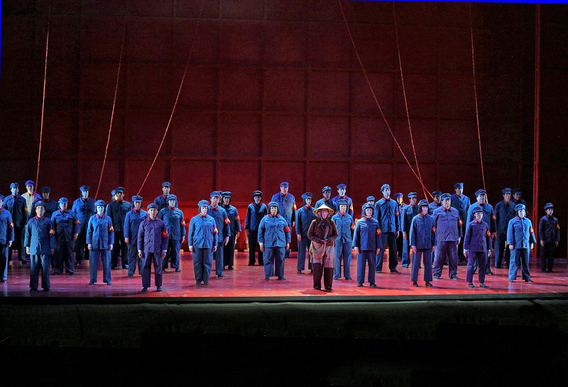Opening scene from San Diego Opera's NIXON IN CHINA. March, 2015. Photo by Ken Howard.