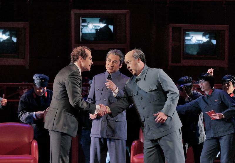 Baritone Franco Pomponi is Richard Nixon, baritone Chen-ye Yuan is Chou En-Lai, and tenor Chad Shelton is Mao Tse-Tung in San Diego Opera's NIXON IN CHINA. March, 2015. Photo by Ken Howard.