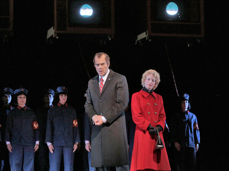 Baritone Franco Pomponi is Richard Nixon and soprano Maria Kanyova is Pat Nixon in San Diego Opera's NIXON IN CHINA. March, 2015. Photo by Ken Howard.