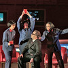 (L-R) Mezzo sopranos Sarah Castle is the 1st Secretary to Mao, Buffy Baggott is the 2nd Secretary to Mao, Jennifer DeDominici is the 3rd Secretary to Mao, and bass baritone Patrick Carfizzi is Henry Kissinger in San Diego Opera's NIXON IN CHINA. March, 2015. Photo by Ken Howard.