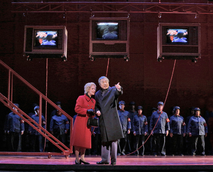 Soprano Maria Kanyova is Pat Nixon and baritone Chen-ye Yuan is Chou En-Lai in San Diego Opera's NIXON IN CHINA. March, 2015. Photo by Ken Howard.