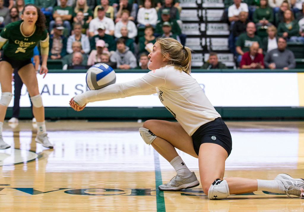 . Colorado State libero Amanda Young (8) digs the ball against UC Davis Saturday afternoon Nov., 25, 2017, at Moby Arena in Fort Collins. The Rams beat the Aggies, 3-1. (Michael Brian/For the Reporter-Herald)