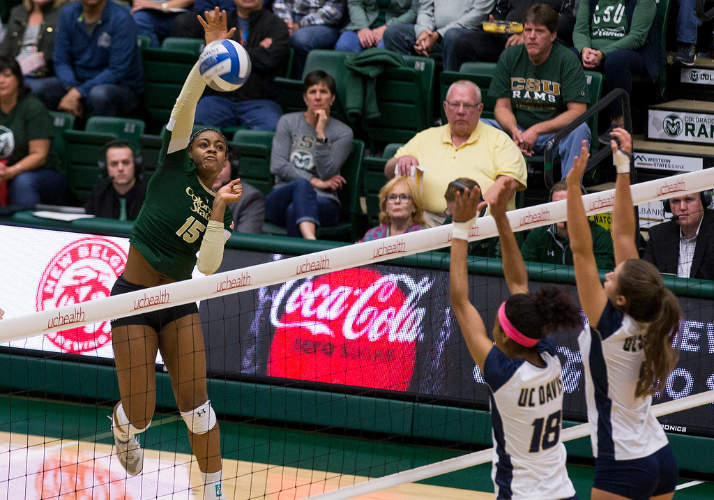 . Colorado State outside hitter Breana Runnels (15) takes a shot against UC Davis Saturday afternoon Nov., 25, 2017, at Moby Arena in Fort Collins. The Rams beat the Aggies, 3-1. (Michael Brian/For the Reporter-Herald)