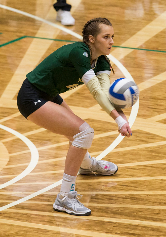 . Colorado State outside hitter Sanja Cizmic (10) gets a dig against UC Davis Saturday afternoon Nov., 25, 2017, at Moby Arena in Fort Collins. The Rams beat the Aggies, 3-1. (Michael Brian/For the Reporter-Herald)