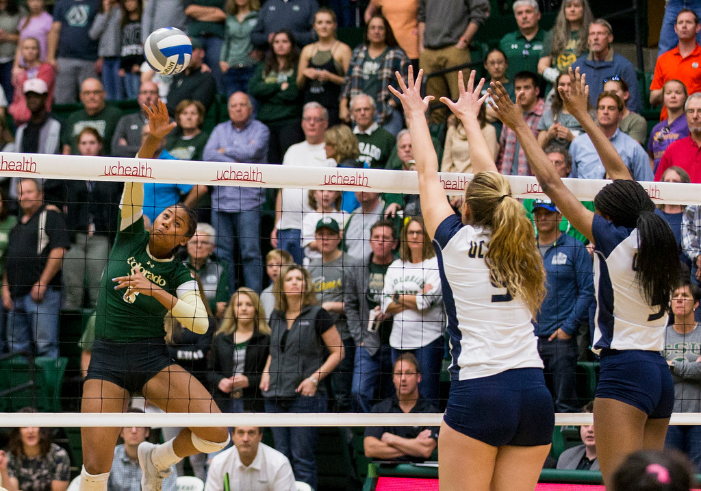 . Colorado State outside hitter Jasmine Hanna (6) takes a shot against UC Davis Saturday afternoon Nov., 25, 2017, at Moby Arena in Fort Collins. The Rams beat the Aggies, 3-1. (Michael Brian/For the Reporter-Herald)