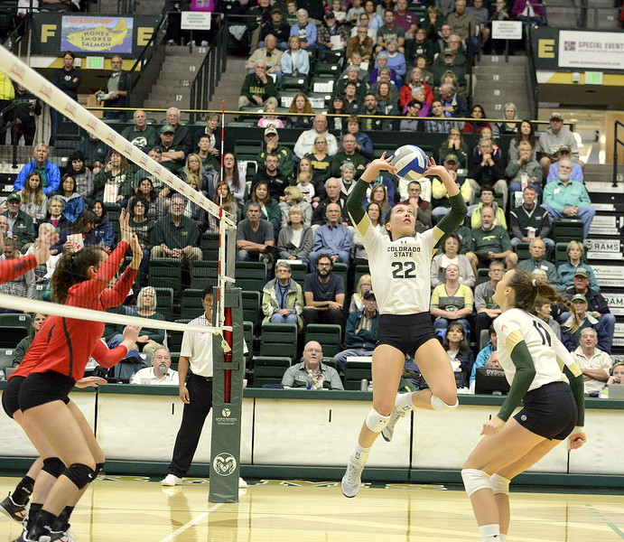 Colorado State's Katie Oleksak delivers a set during Saturday's match with UNLV at Moby Arena.