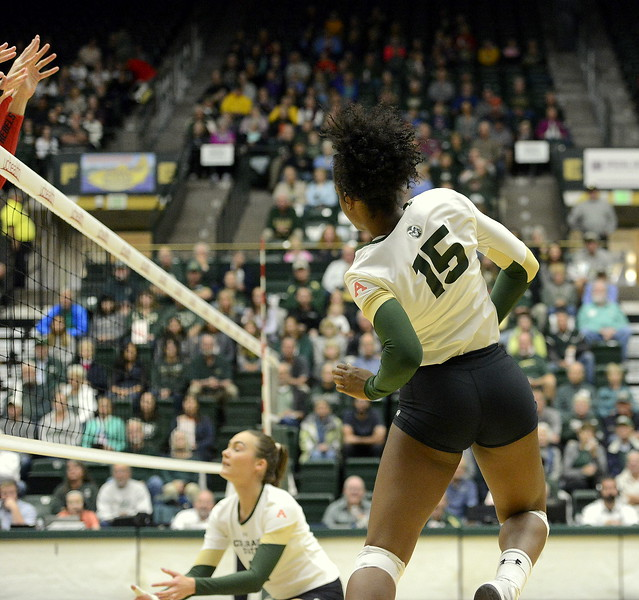 Colorado State outside hitter Breana Runnels watch her attack hit the floor for a kill during Saturday's match against UNLV at Moby Arena.